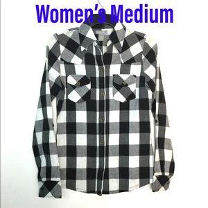 dELiA's M Flannel Shirt Black White Button Front